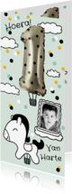 Verjaardagskaarten - Verjaardagskaart 1 jaar folie ballon met stippen