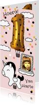 Verjaardagskaarten - Verjaardagskaart 1 jaar goud unicorn luchtballon