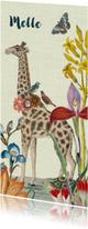 Geboortekaartjes - Vrolijk geboortekaartje met giraffe en vintage bloemen