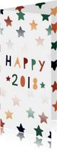 Nieuwjaarskaarten - Vrolijke nieuwjaarskaart met gekleurde sterren