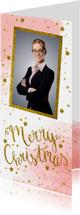 Zakelijke kerstkaarten - Zakelijke kerstkaart aquarel glitter tekst foto