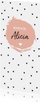 Geboortekaartjes - Zwarte hartjes en roze brush