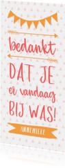 Bedankkaart typografisch met slingers en pijlen meisje