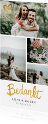 Bedankkaartje huwelijk fotocollage stijlvol goud