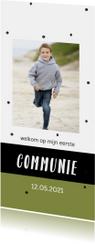 Communiekaart met confetti en eigen foto