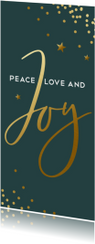 Donkergroene kerstkaart met gouden confetti en Joy