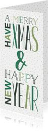 Kerstkaart met groene letters, sterren en stipjes dubbel