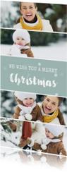 Langwerpige kerstkaart met fotocollage en sneeuwvlokjes