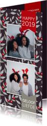 Nieuwjaarskaart met een foto en rode besjes en takjes