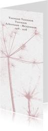 Rouwkaart met oud roze bloem silhouet