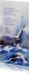 Rouwkaart Vier het leven met beeld van meeuw