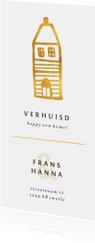 Verhuiskaart langwerpig met gouden huisje