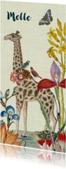 Vrolijk geboortekaartje met giraffe en vintage bloemen