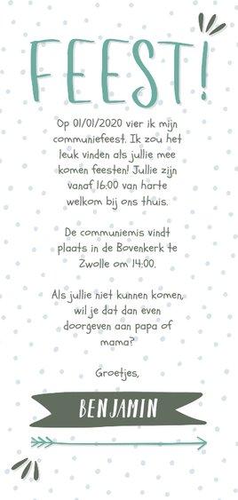 Communiekaart typografisch met confetti en eigen foto jongen Achterkant