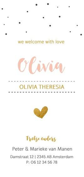 Fotokaartje met confetti en gouden hart Achterkant