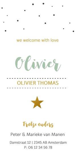 Fotokaartje met confetti en gouden ster Achterkant