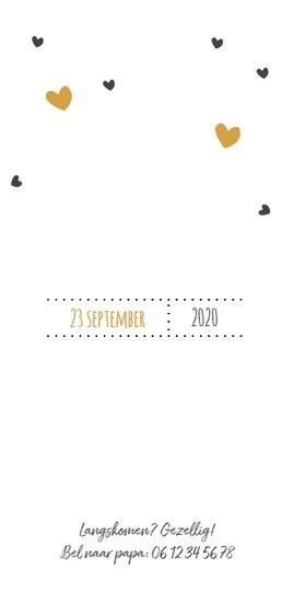 Geboortekaartje hartjes geel en grijs 2