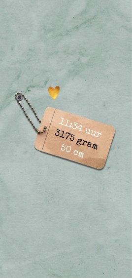 Geboortekaartje unisex stoer met label en gouden hartje 2