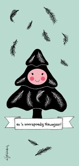 Kerstkaart boompje zwart wit met gezichtje 2