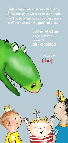 Kinderfeestje - jongetje met dinosaurus Achterkant