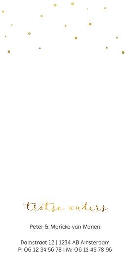 Klassiek geboortekaartje goud  Achterkant