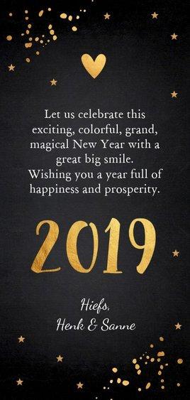 Nieuwjaarskaart foto hout krijtbord goud Achterkant