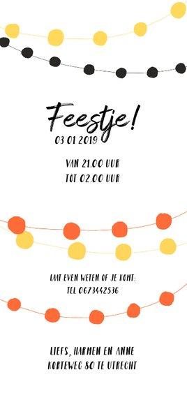 Nieuwjaarskaart uitnodiging party slingers Achterkant