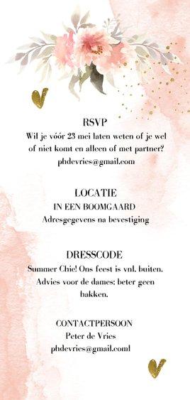 Romantische trouwkaart met watercolor bloemen Achterkant