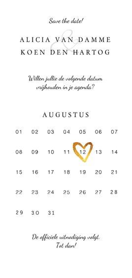 Save the date kaart klassiek en stijlvol met goud & kalender Achterkant