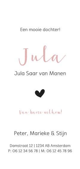Strak roze geboortekaartje met een wit hartje Achterkant
