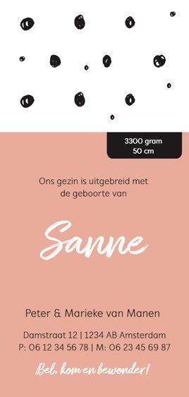 Trendy geboortekaartje zwart wit en roze Achterkant