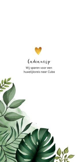 Trouwkaart in Bohemian stijl met bladeren en waterverf 2