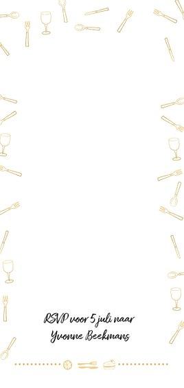 Uitnodiging 21-diner goudlook streep Achterkant