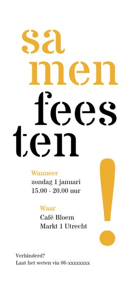 Uitnodiging 50 typografisch lang Achterkant