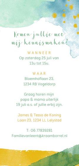 Uitnodiging jongen waterverf groen, geel en blauw Achterkant