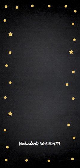 Uitnodiging verjaardag fotocollage goud confetti 2