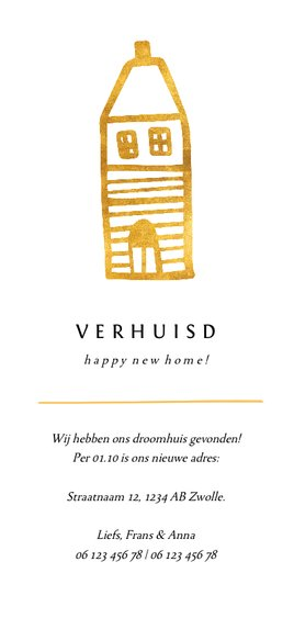 Verhuiskaart langwerpig met gouden huisje Achterkant