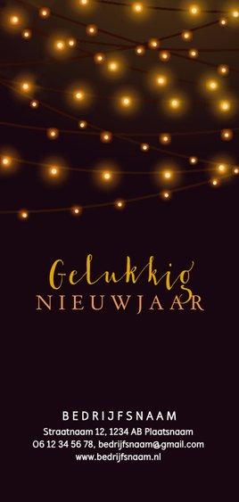 Zakelijke kerstkaart met sfeerlichtjes op de achtergrond Achterkant
