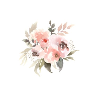 Aquarel kaart bloemenkrans in pastel tinten 2