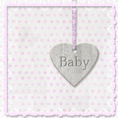 Babyhart roze met vlinders 2