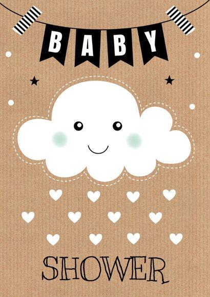 Babyshower uitnodiging wolkje hartjes  2