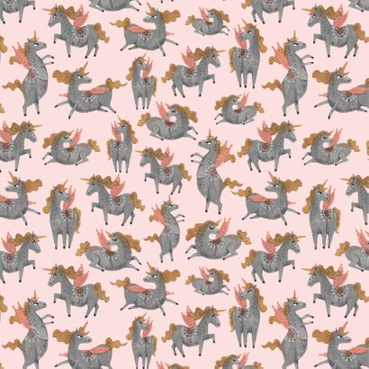 Babyshower unicorn patroon uitnodiging 2