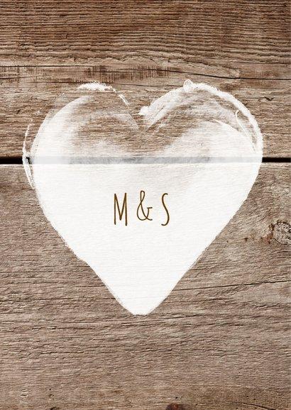 Bedankkaart trouwen hout met lijst - SG 2