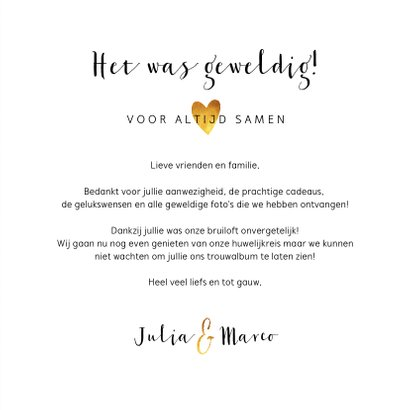 Bedankkaartje bruiloft stijlvol botanisch met fotocollage 3