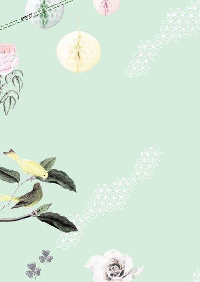 Bedankkaartje Eerst Communie met vrolijke vogeltjes 2