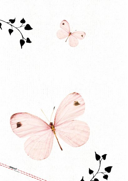Bedankkaartje Eerste Communie met lieve roze vlinders  2
