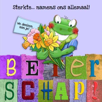 Beterschapskaart  opkikker met letters en bloemen 3