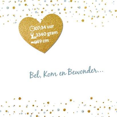 Blauw geboortekaartje goud confetti 2