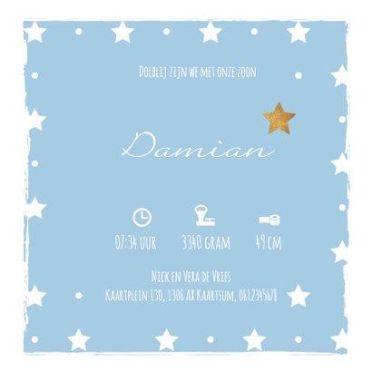 Blauw geboortekaartje sterren en kader 3