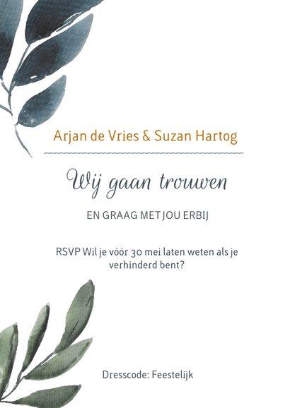 Chique botanische trouwkaart met aquarel bladgroen 2